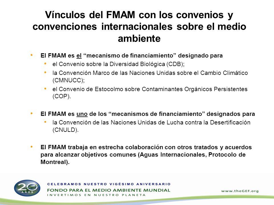 Vínculos del FMAM con los convenios y convenciones internacionales sobre el medio ambiente El FMAM es el mecanismo de financiamiento designado para el
