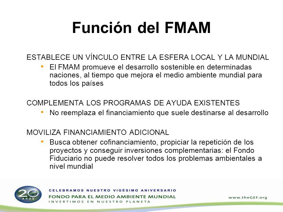 Función del FMAM ESTABLECE UN VÍNCULO ENTRE LA ESFERA LOCAL Y LA MUNDIAL El FMAM promueve el desarrollo sostenible en determinadas naciones, al tiempo