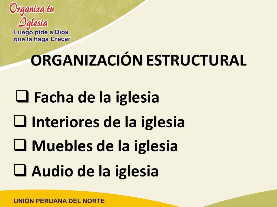ORGANIZACIÓN ESTRUCTURAL Facha de la iglesia Interiores de la iglesia Muebles de la iglesia Audio de la iglesia
