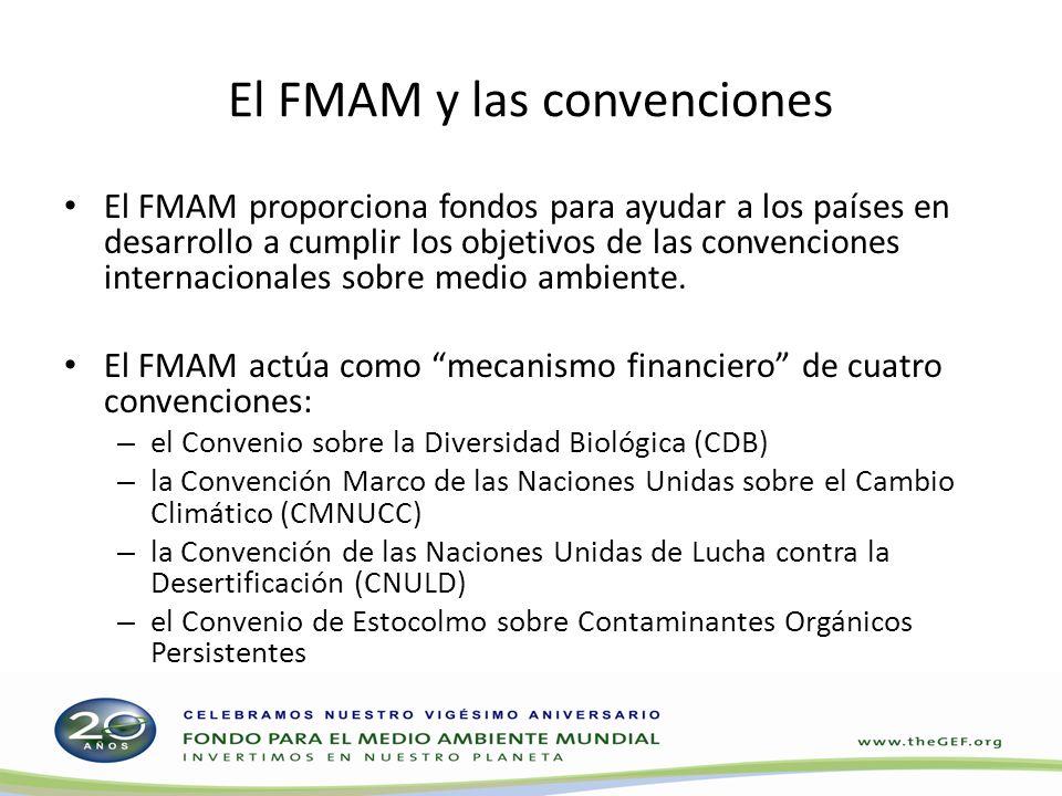 El FMAM y las convenciones El FMAM proporciona fondos para ayudar a los países en desarrollo a cumplir los objetivos de las convenciones internacionales sobre medio ambiente.