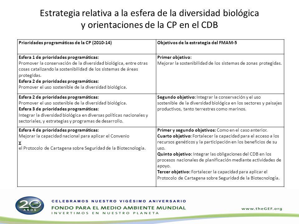 Estrategia relativa a la esfera de la diversidad biológica y orientaciones de la CP en el CDB Prioridades programáticas de la CP (2010-14)Objetivos de la estrategia del FMAM-5 Esfera 1 de prioridades programáticas: Promover la conservación de la diversidad biológica, entre otras cosas catalizando la sostenibilidad de los sistemas de áreas protegidas.
