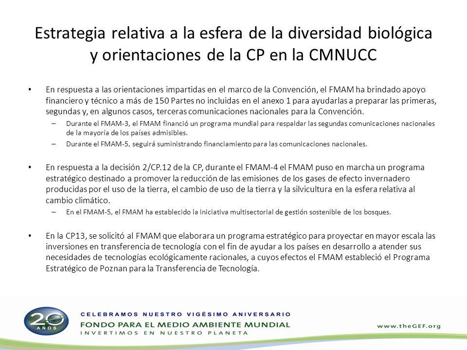 Estrategia relativa a la esfera de la diversidad biológica y orientaciones de la CP en la CMNUCC En respuesta a las orientaciones impartidas en el mar