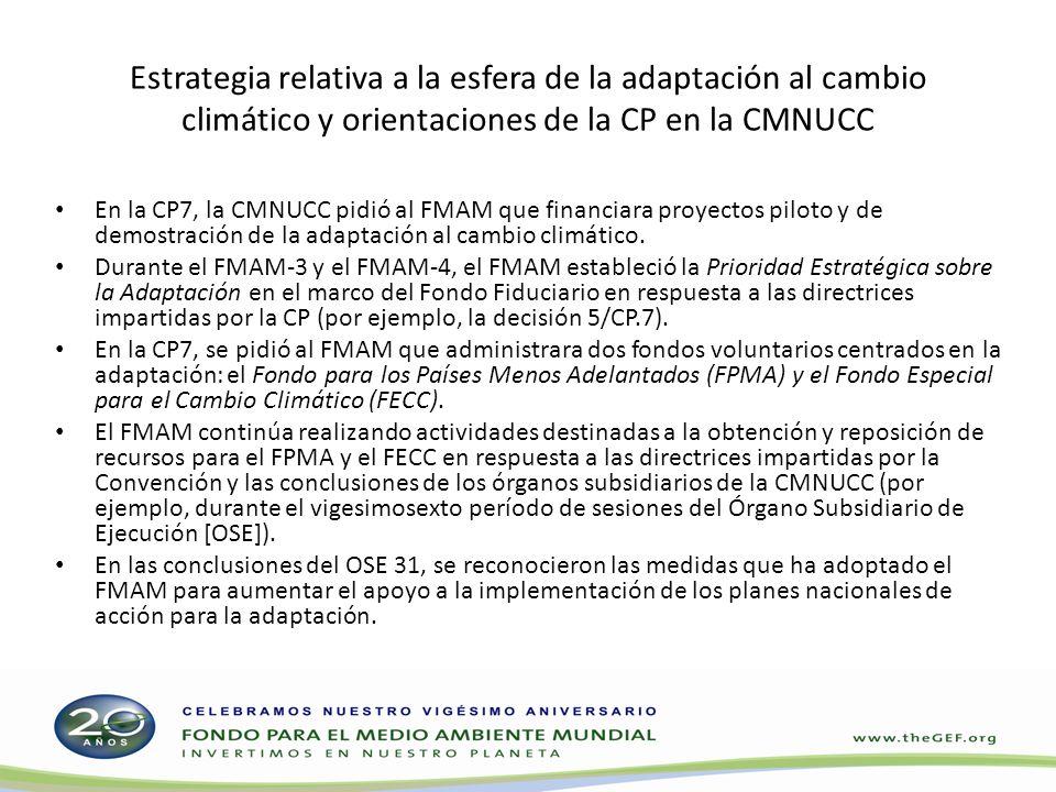 Estrategia relativa a la esfera de la adaptación al cambio climático y orientaciones de la CP en la CMNUCC En la CP7, la CMNUCC pidió al FMAM que financiara proyectos piloto y de demostración de la adaptación al cambio climático.