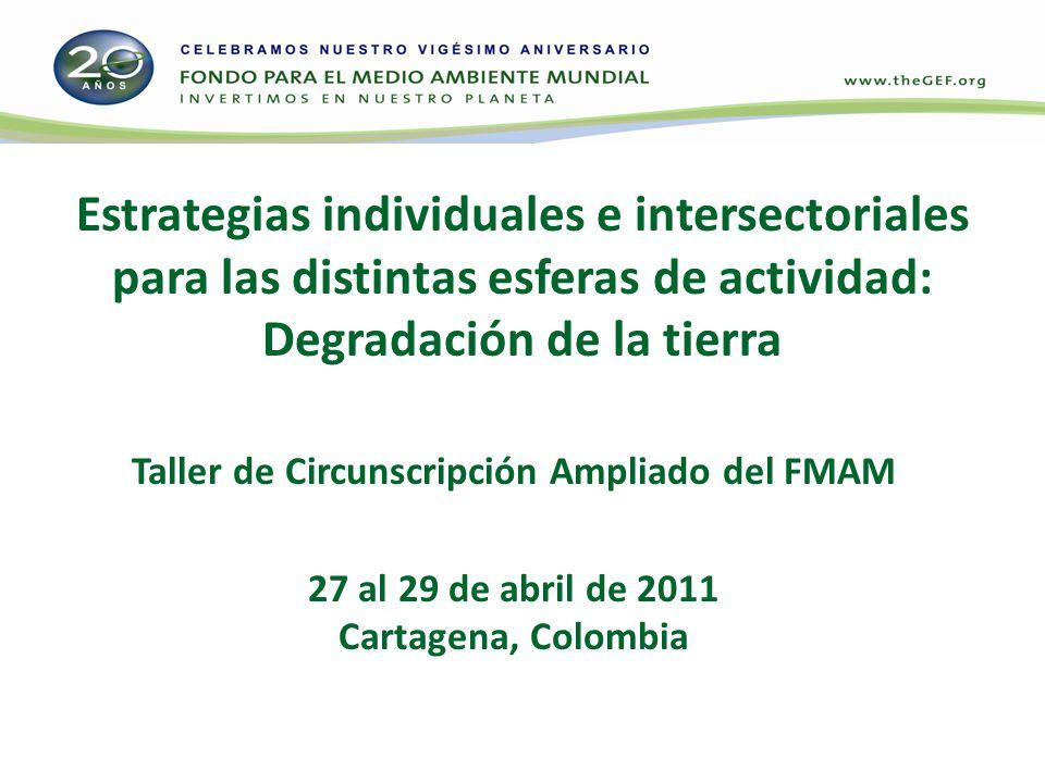 Estrategias individuales e intersectoriales para las distintas esferas de actividad: Degradación de la tierra Taller de Circunscripción Ampliado del FMAM 27 al 29 de abril de 2011 Cartagena, Colombia