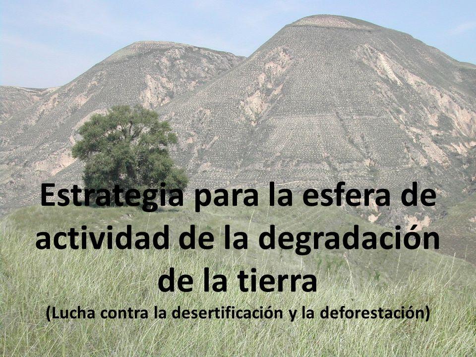 Ampliar la cartera relativa a la degradación de la tierra a los 144 países admisibles mediante la inclusión de esta esfera de actividad en el SATR Abordar las tres causas principales de degradación de ecosistemas: cambio en los usos de la tierra gestión y consumo de recursos naturales no sostenibles cambio climático Lograr un marco más propicio para el manejo sostenible de la tierra Respaldo a la Convención de las Naciones Unidas de Lucha contra la Desertificación (CNULD) (aplicación de una estrategia a 10 años) Mejorar el papel de la agricultura y la gestión forestal en los paisajes productivos Prioridades del FMAM-5