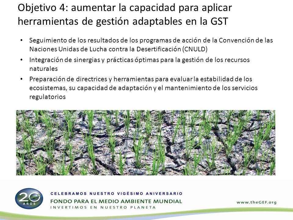 Objetivo 4: aumentar la capacidad para aplicar herramientas de gestión adaptables en la GST Seguimiento de los resultados de los programas de acción de la Convención de las Naciones Unidas de Lucha contra la Desertificación (CNULD) Integración de sinergias y prácticas óptimas para la gestión de los recursos naturales Preparación de directrices y herramientas para evaluar la estabilidad de los ecosistemas, su capacidad de adaptación y el mantenimiento de los servicios regulatorios