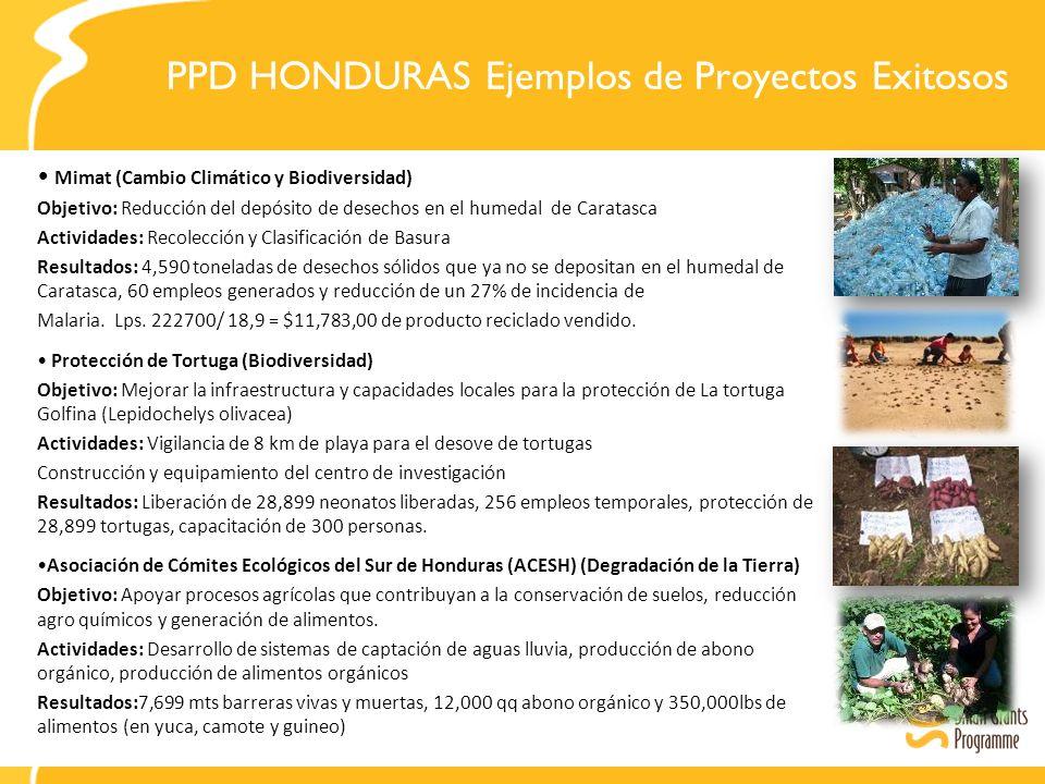 PPD HONDURAS Ejemplos de Proyectos Exitosos Mimat (Cambio Climático y Biodiversidad) Objetivo: Reducción del depósito de desechos en el humedal de Caratasca Actividades: Recolección y Clasificación de Basura Resultados: 4,590 toneladas de desechos sólidos que ya no se depositan en el humedal de Caratasca, 60 empleos generados y reducción de un 27% de incidencia de Malaria.