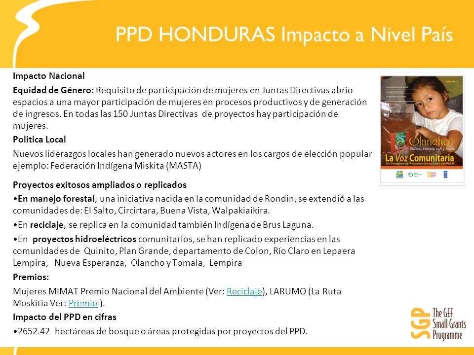 PPD HONDURAS Impacto a Nivel País Impacto Nacional Equidad de Género: Requisito de participación de mujeres en Juntas Directivas abrio espacios a una mayor participación de mujeres en procesos productivos y de generación de ingresos.