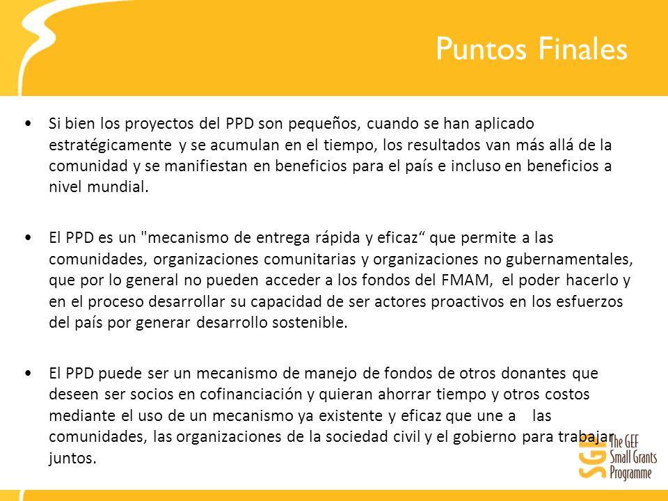 Puntos Finales Si bien los proyectos del PPD son pequeños, cuando se han aplicado estratégicamente y se acumulan en el tiempo, los resultados van más allá de la comunidad y se manifiestan en beneficios para el país e incluso en beneficios a nivel mundial.
