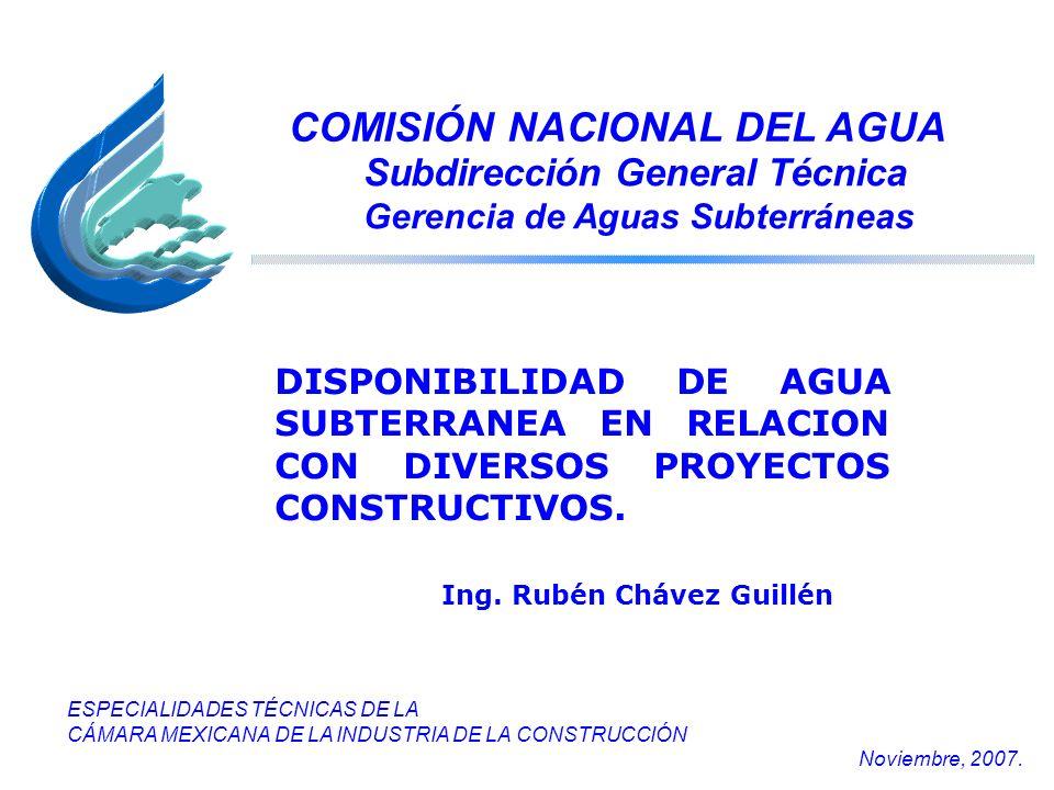 COMISIÓN NACIONAL DEL AGUA Subdirección General Técnica Gerencia de Aguas Subterráneas ESPECIALIDADES TÉCNICAS DE LA CÁMARA MEXICANA DE LA INDUSTRIA D