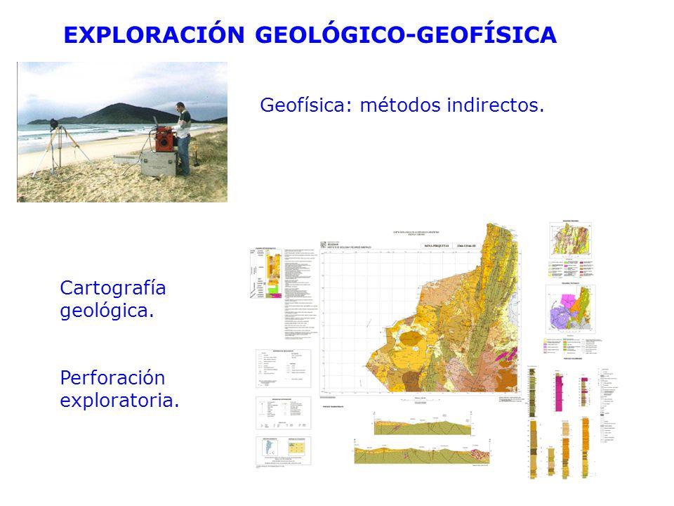 EXPLORACIÓN GEOLÓGICO-GEOFÍSICA Geofísica: métodos indirectos. Cartografía geológica. Perforación exploratoria.