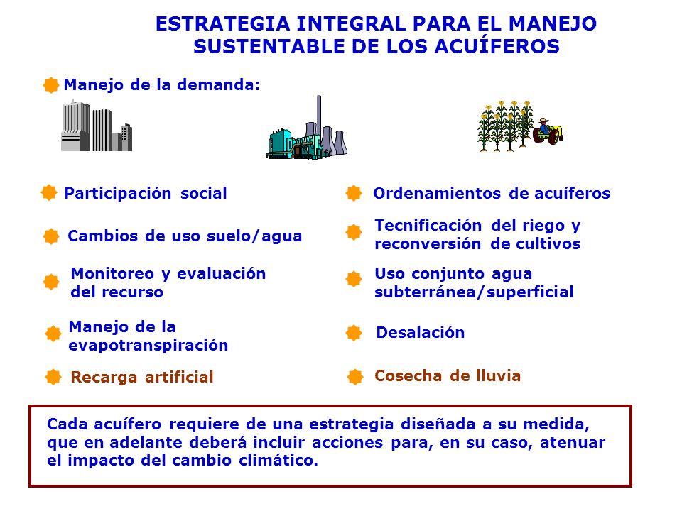 ESTRATEGIA INTEGRAL PARA EL MANEJO SUSTENTABLE DE LOS ACUÍFEROS Manejo de la demanda: Participación social Cambios de uso suelo/agua Ordenamientos de