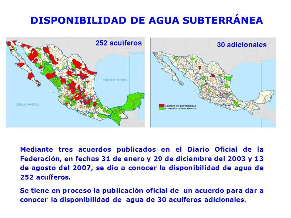DISPONIBILIDAD DE AGUA SUBTERRÁNEA Mediante tres acuerdos publicados en el Diario Oficial de la Federación, en fechas 31 de enero y 29 de diciembre de