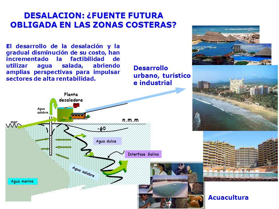 Desarrollo urbano, turístico e industrial Acuacultura DESALACION: ¿FUENTE FUTURA OBLIGADA EN LAS ZONAS COSTERAS? n.m.m -60 Agua dulce Planta desalador