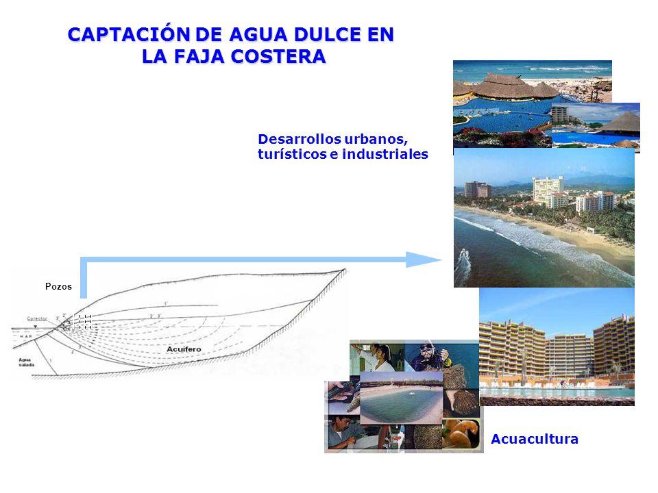 Desarrollos urbanos, turísticos e industriales Acuacultura CAPTACIÓN DE AGUA DULCE EN LA FAJA COSTERA LA FAJA COSTERA Pozos