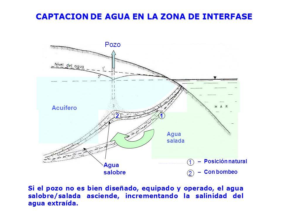 CAPTACION DE AGUA EN LA ZONA DE INTERFASE Acuífero Agua salada Agua salobre Pozo 1 2 – Posición natural – Con bombeo Si el pozo no es bien diseñado, e