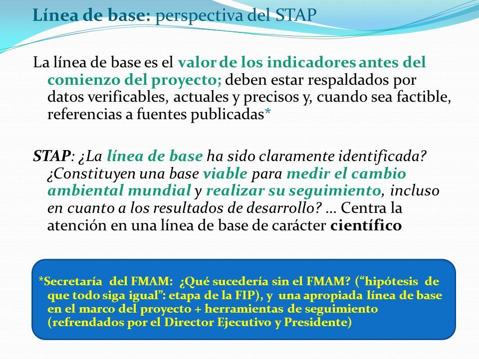 Línea de base: perspectiva del STAP La línea de base es el valor de los indicadores antes del comienzo del proyecto; deben estar respaldados por datos verificables, actuales y precisos y, cuando sea factible, referencias a fuentes publicadas* STAP: ¿La línea de base ha sido claramente identificada.