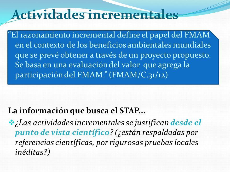 Actividades incrementales El razonamiento incremental define el papel del FMAM en el contexto de los beneficios ambientales mundiales que se prevé obtener a través de un proyecto propuesto.