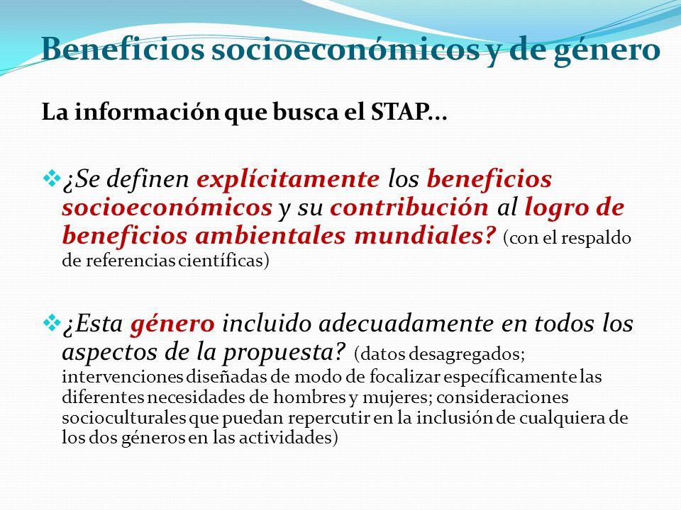 Beneficios socioeconómicos y de género La información que busca el STAP...