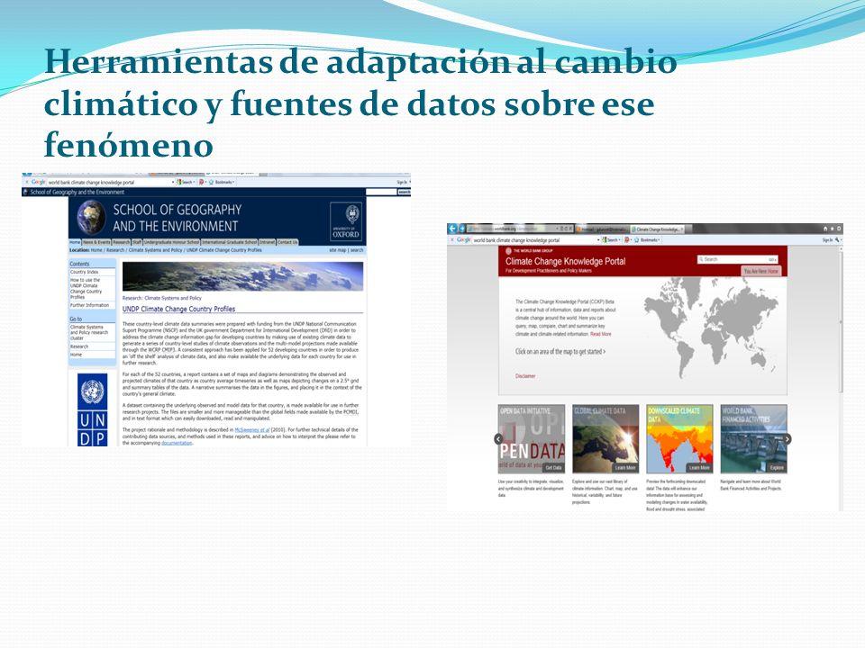 Herramientas de adaptación al cambio climático y fuentes de datos sobre ese fenómeno