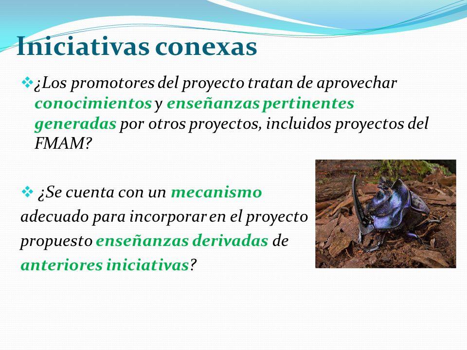 Iniciativas conexas ¿Los promotores del proyecto tratan de aprovechar conocimientos y enseñanzas pertinentes generadas por otros proyectos, incluidos proyectos del FMAM.