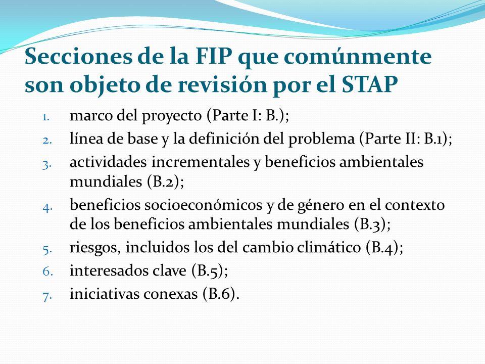 Secciones de la FIP que comúnmente son objeto de revisión por el STAP 1.