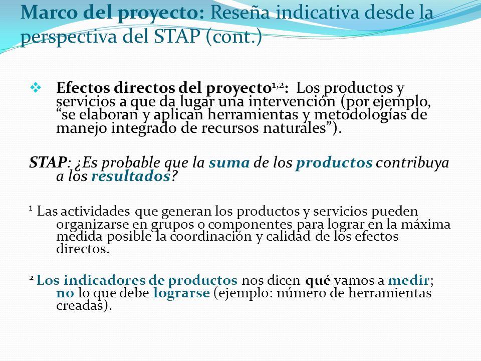 Marco del proyecto: Reseña indicativa desde la perspectiva del STAP (cont.) Efectos directos del proyecto 1,2 : Los productos y servicios a que da lugar una intervención (por ejemplo, se elaboran y aplican herramientas y metodologías de manejo integrado de recursos naturales).