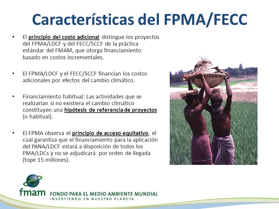 Características del FPMA/FECC El principio del costo adicional distingue los proyectos del FPMA/LDCF y del FECC/SCCF de la práctica estándar del FMAM, que otorga financiamiento basado en costos incrementales.