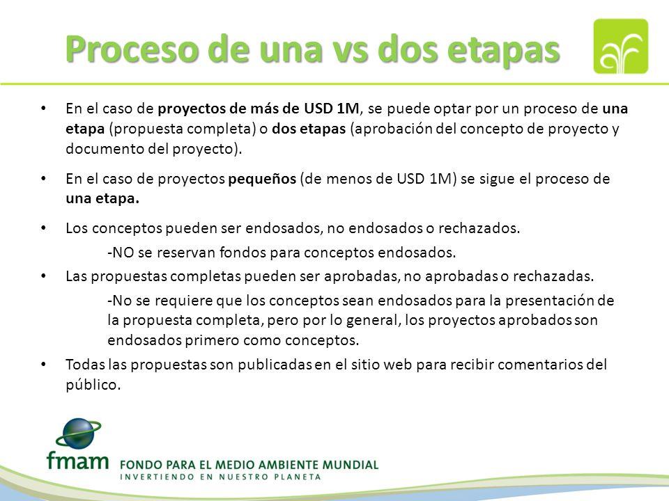 Proceso de una vs dos etapas En el caso de proyectos de más de USD 1M, se puede optar por un proceso de una etapa (propuesta completa) o dos etapas (aprobación del concepto de proyecto y documento del proyecto).