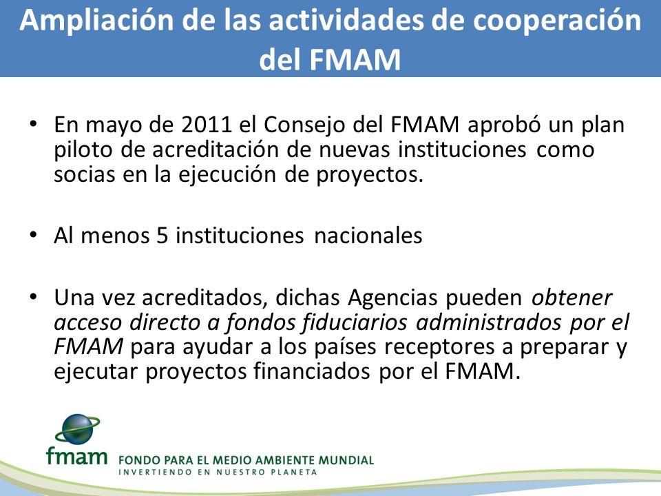 En mayo de 2011 el Consejo del FMAM aprobó un plan piloto de acreditación de nuevas instituciones como socias en la ejecución de proyectos.