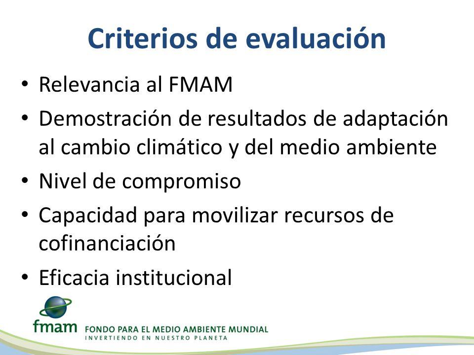 Criterios de evaluación Relevancia al FMAM Demostración de resultados de adaptación al cambio climático y del medio ambiente Nivel de compromiso Capacidad para movilizar recursos de cofinanciación Eficacia institucional