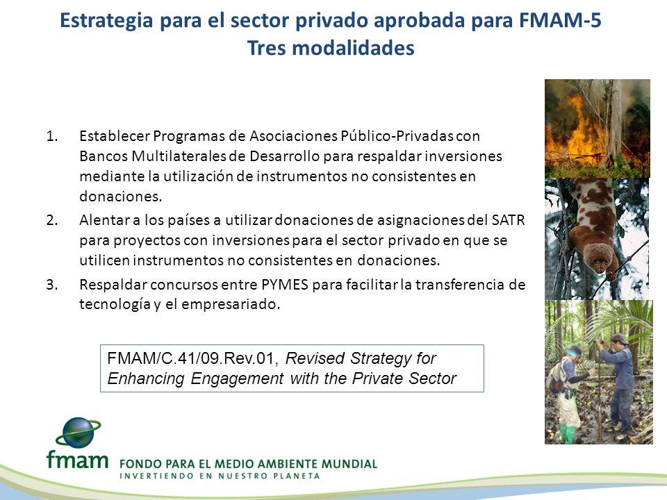 Estrategia para el sector privado aprobada para FMAM-5 Tres modalidades 1.Establecer Programas de Asociaciones Público-Privadas con Bancos Multilaterales de Desarrollo para respaldar inversiones mediante la utilización de instrumentos no consistentes en donaciones.