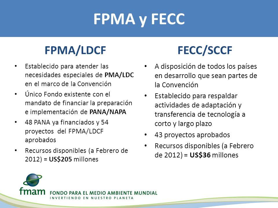 FPMA/LDCF Establecido para atender las necesidades especiales de PMA/LDC en el marco de la Convención Único Fondo existente con el mandato de financiar la preparación e implementación de PANA/NAPA 48 PANA ya financiados y 54 proyectos del FPMA/LDCF aprobados Recursos disponibles (a Febrero de 2012) = US$205 millones FECC/SCCF A disposición de todos los países en desarrollo que sean partes de la Convención Establecido para respaldar actividades de adaptación y transferencia de tecnología a corto y largo plazo 43 proyectos aprobados Recursos disponibles (a Febrero de 2012) = US$36 millones FPMA y FECC