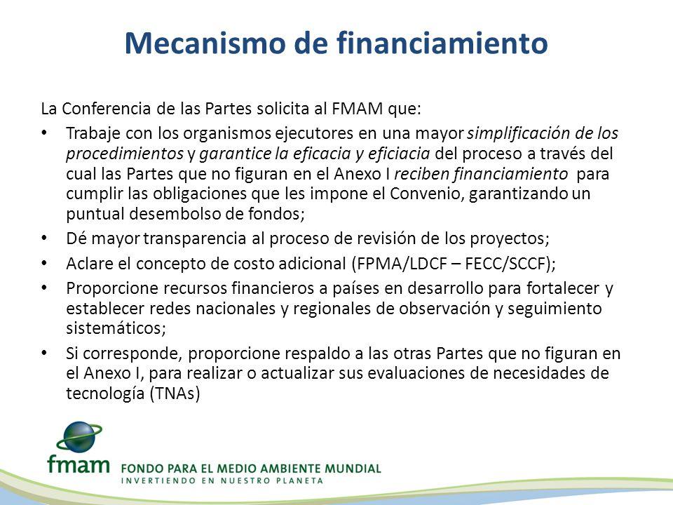 Mecanismo de financiamiento La Conferencia de las Partes solicita al FMAM que: Trabaje con los organismos ejecutores en una mayor simplificación de los procedimientos y garantice la eficacia y eficiacia del proceso a través del cual las Partes que no figuran en el Anexo I reciben financiamiento para cumplir las obligaciones que les impone el Convenio, garantizando un puntual desembolso de fondos; Dé mayor transparencia al proceso de revisión de los proyectos; Aclare el concepto de costo adicional (FPMA/LDCF – FECC/SCCF); Proporcione recursos financieros a países en desarrollo para fortalecer y establecer redes nacionales y regionales de observación y seguimiento sistemáticos; Si corresponde, proporcione respaldo a las otras Partes que no figuran en el Anexo I, para realizar o actualizar sus evaluaciones de necesidades de tecnología (TNAs)