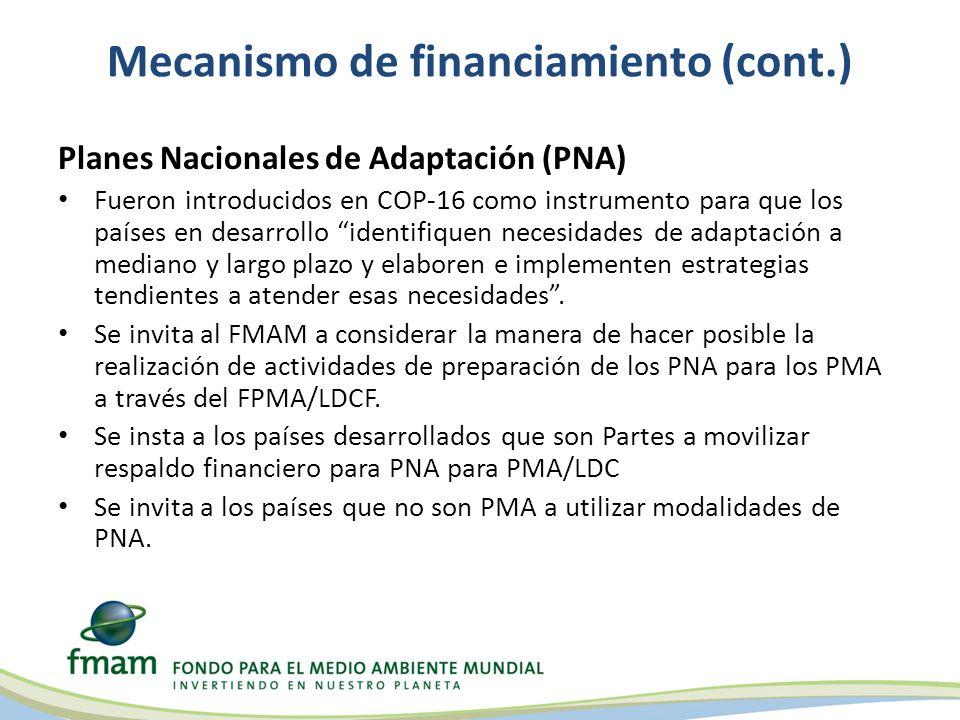 Mecanismo de financiamiento (cont.) Planes Nacionales de Adaptación (PNA) Fueron introducidos en COP-16 como instrumento para que los países en desarrollo identifiquen necesidades de adaptación a mediano y largo plazo y elaboren e implementen estrategias tendientes a atender esas necesidades.