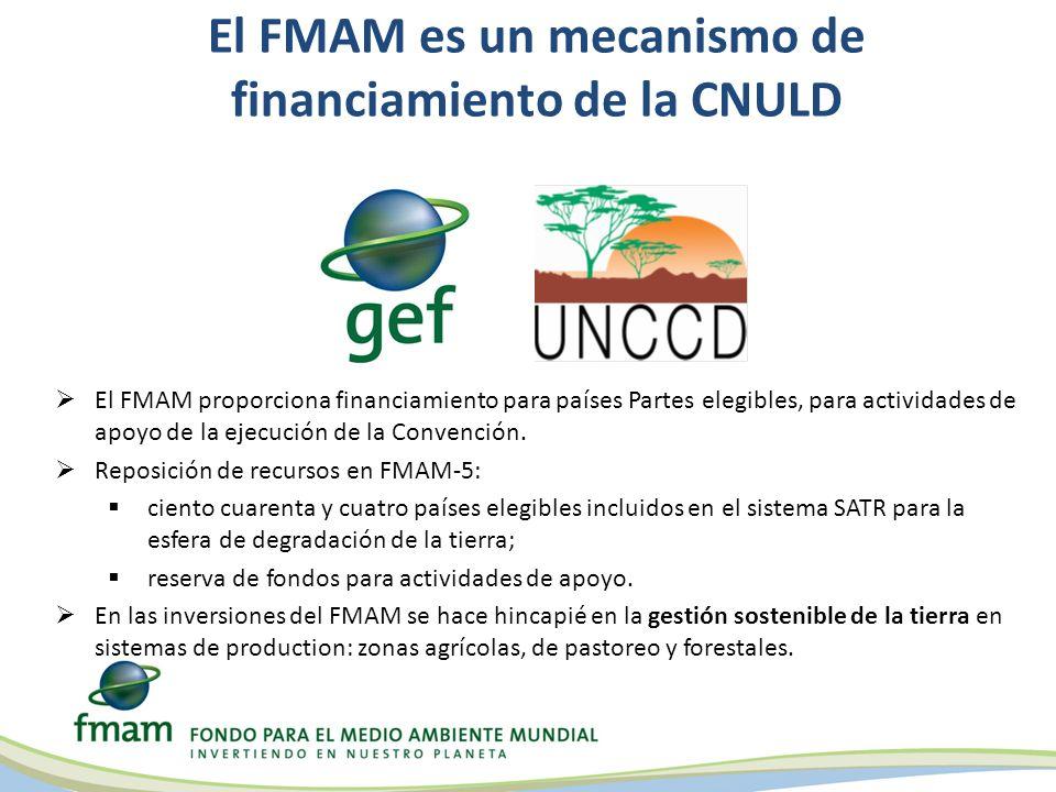 El FMAM es un mecanismo de financiamiento de la CNULD Objetivos del FMAM en la esfera de actividad de degradación de la tierra 1 Mantener o mejorar el flujo de servicios del ecosistema agrícola para mantener los medios de subsistencia.