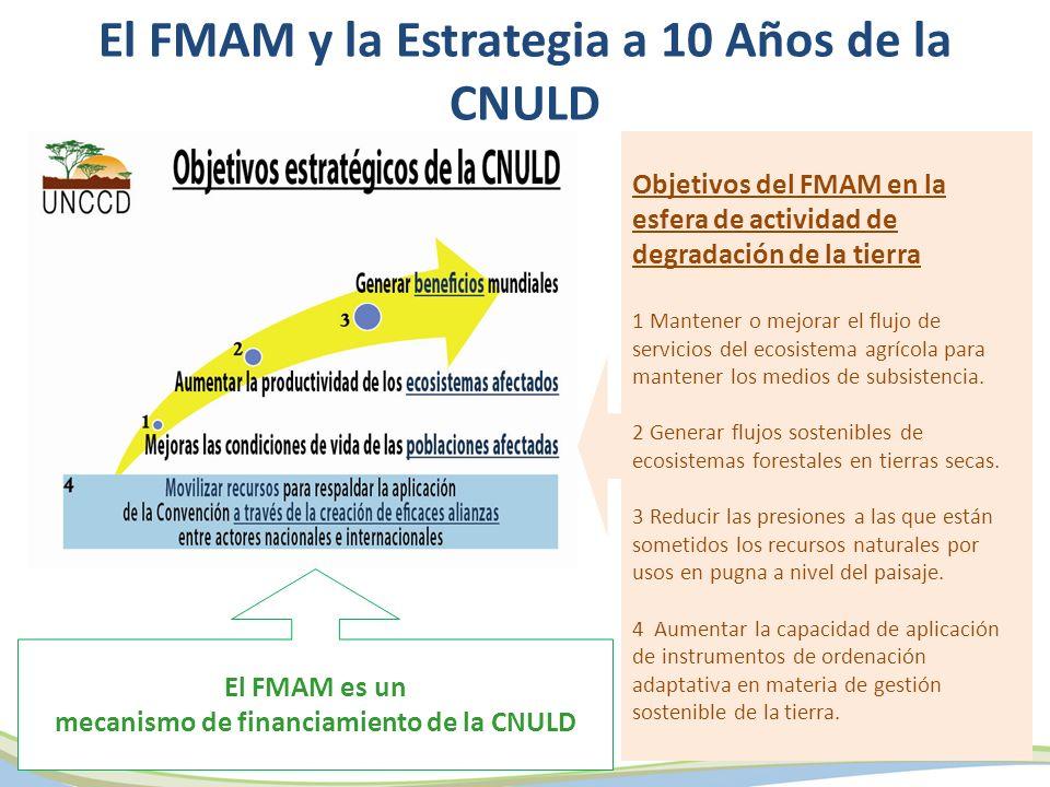 El FMAM es un mecanismo de financiamiento de la CNULD Objetivos del FMAM en la esfera de actividad de degradación de la tierra 1 Mantener o mejorar el