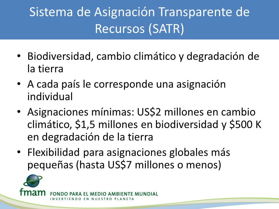 Biodiversidad, cambio climático y degradación de la tierra A cada país le corresponde una asignación individual Asignaciones mínimas: US$2 millones en cambio climático, $1,5 millones en biodiversidad y $500 K en degradación de la tierra Flexibilidad para asignaciones globales más pequeñas (hasta US$7 millones o menos) Sistema de Asignación Transparente de Recursos (SATR)