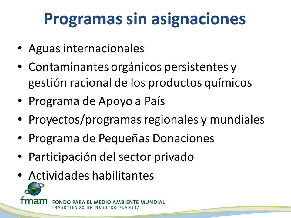 Programas sin asignaciones Aguas internacionales Contaminantes orgánicos persistentes y gestión racional de los productos químicos Programa de Apoyo a País Proyectos/programas regionales y mundiales Programa de Pequeñas Donaciones Participación del sector privado Actividades habilitantes