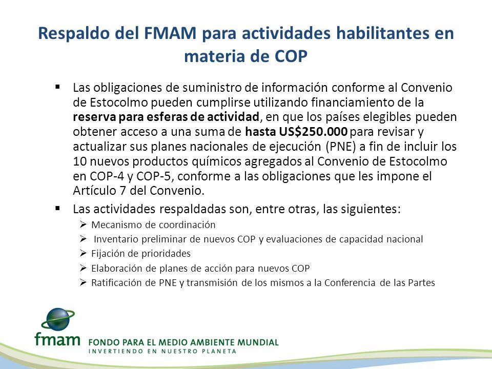 Respaldo del FMAM para actividades habilitantes en materia de COP Las obligaciones de suministro de información conforme al Convenio de Estocolmo pued