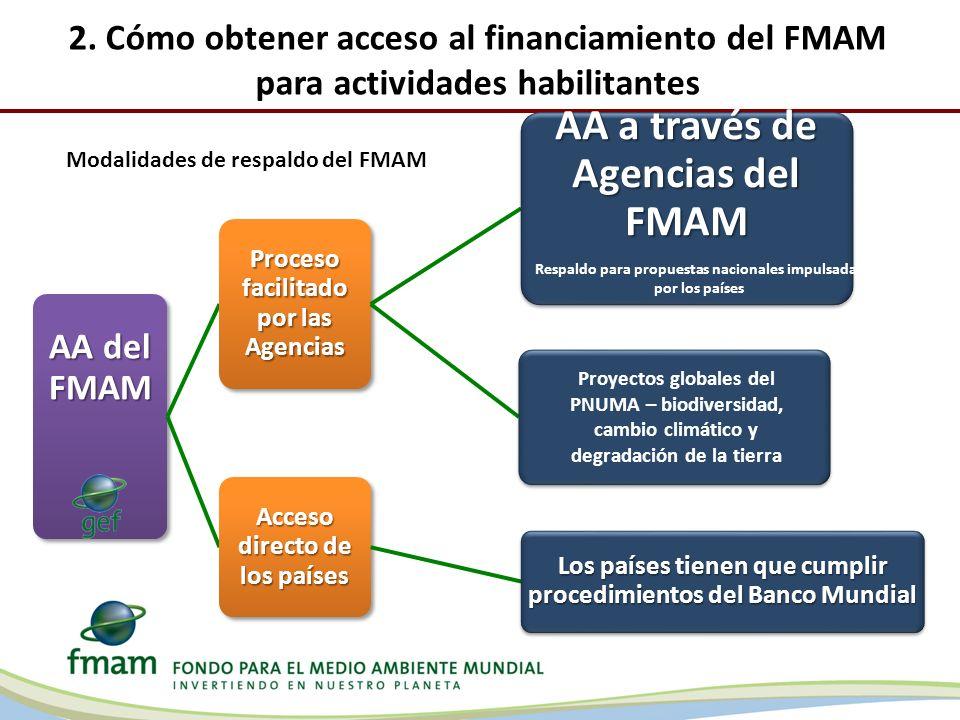 2. Cómo obtener acceso al financiamiento del FMAM para actividades habilitantes AA del FMAM Proceso facilitado por las Agencias AA a través de Agencia