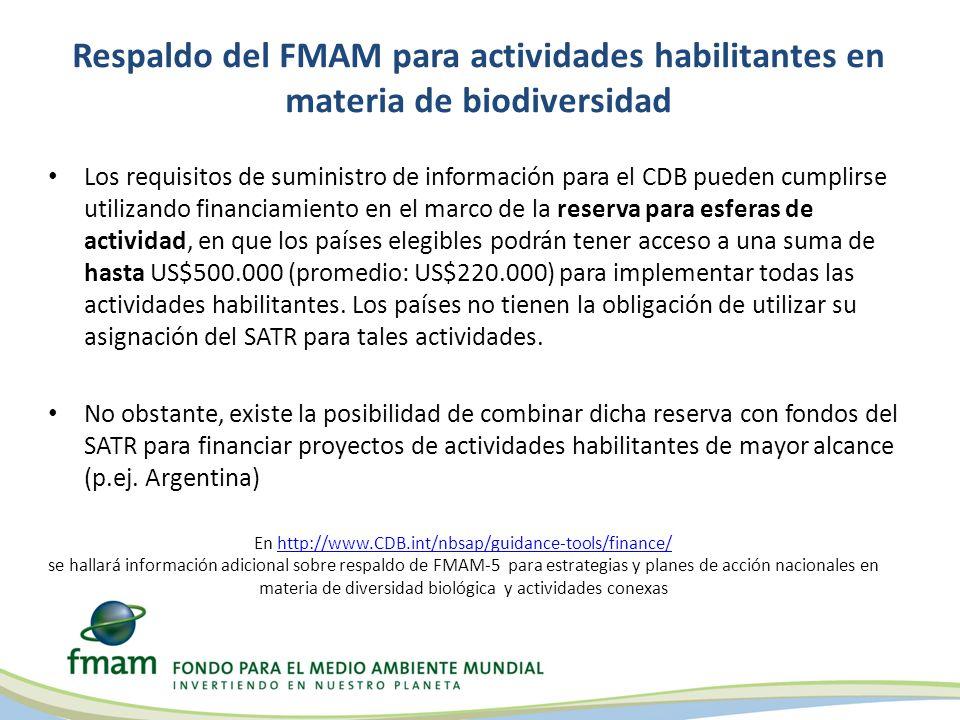 Respaldo del FMAM para actividades habilitantes en materia de biodiversidad Los requisitos de suministro de información para el CDB pueden cumplirse u