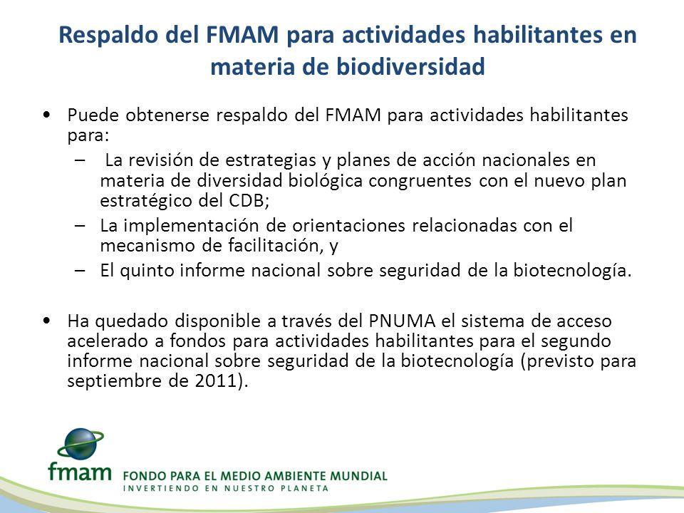 Respaldo del FMAM para actividades habilitantes en materia de biodiversidad Puede obtenerse respaldo del FMAM para actividades habilitantes para: – La