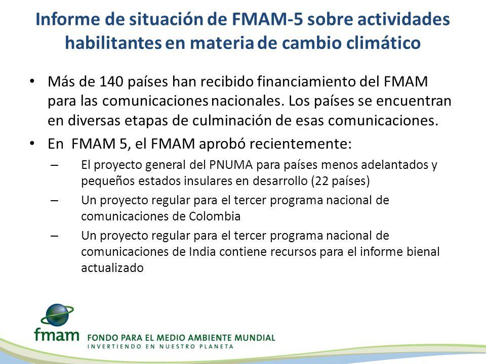 Informe de situación de FMAM-5 sobre actividades habilitantes en materia de cambio climático Más de 140 países han recibido financiamiento del FMAM pa