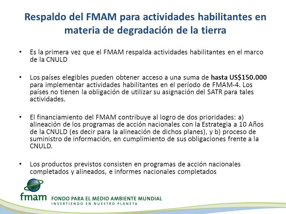 Informe de situación de FMAM-5 sobre actividades habilitantes en materia de degradación de la tierra Las tres modalidades están siendo utilizadas por Partes elegibles en el marco de la CNULD Hasta enero de 2012: – 3 (tres) países estaban utilizando acceso directo por un monto de hasta el máximo estipulado (US$150.000); 1 (uno) ya había sido aprobado por el Funcionario Ejecutivo Principal del FMAM – 1 (un) país había usado una Agencia del FMAM (la FAO) – Entre 18 y 20 países habían optado por el proyecto general, acelerado; cada uno de los 70 países que lo necesitaron recibirá US$50.000