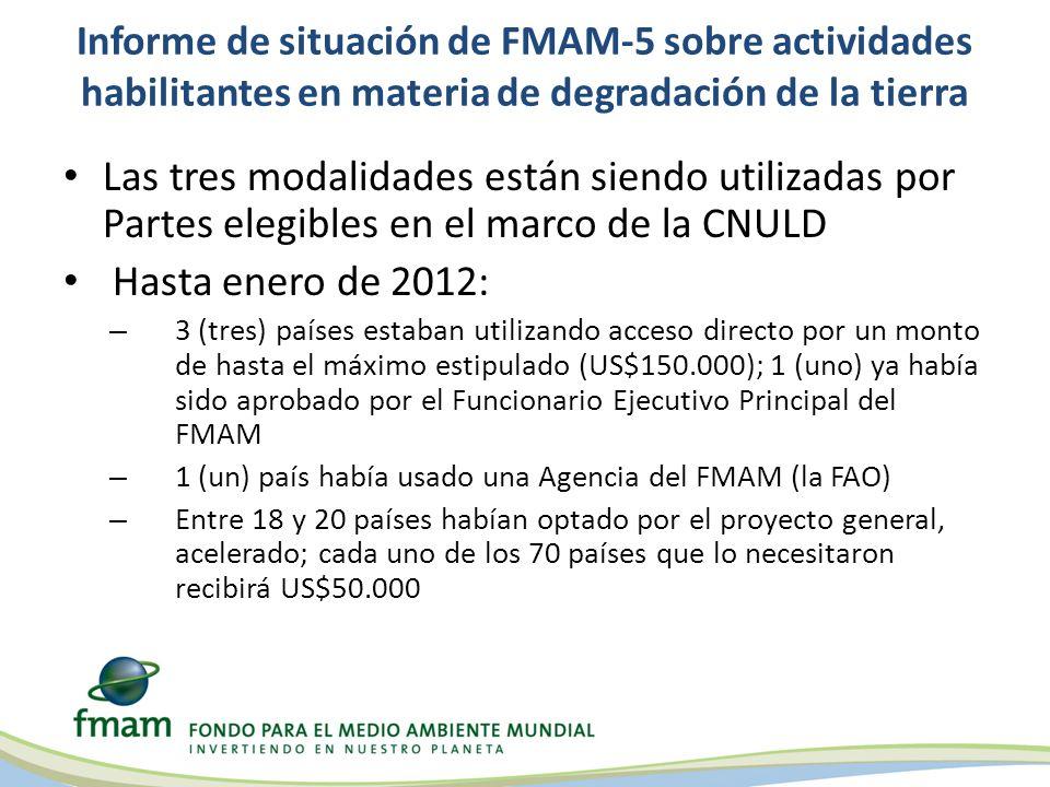 Informe de situación de FMAM-5 sobre actividades habilitantes en materia de degradación de la tierra Las tres modalidades están siendo utilizadas por