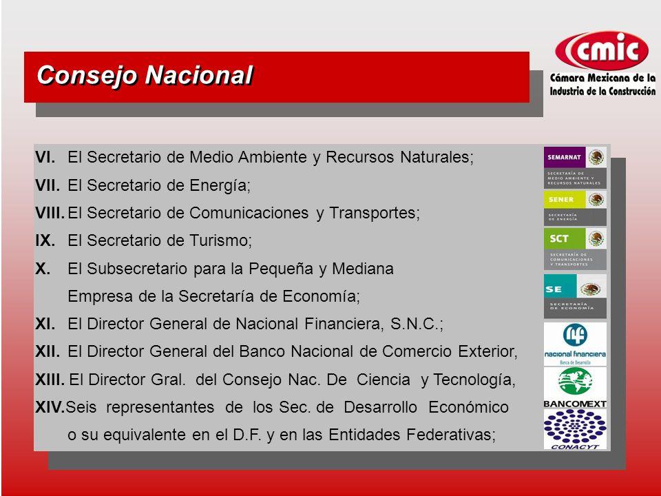 Consejo Nacional VI. El Secretario de Medio Ambiente y Recursos Naturales; VII.