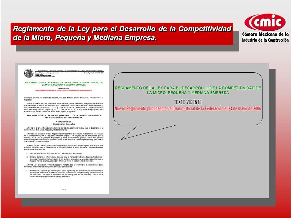 Reglamento de la Ley para el Desarrollo de la Competitividad de la Micro, Pequeña y Mediana Empresa.