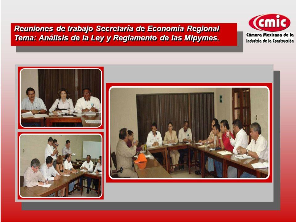 Reuniones de trabajo Secretaría de Economía Regional Tema: Análisis de la Ley y Reglamento de las Mipymes.