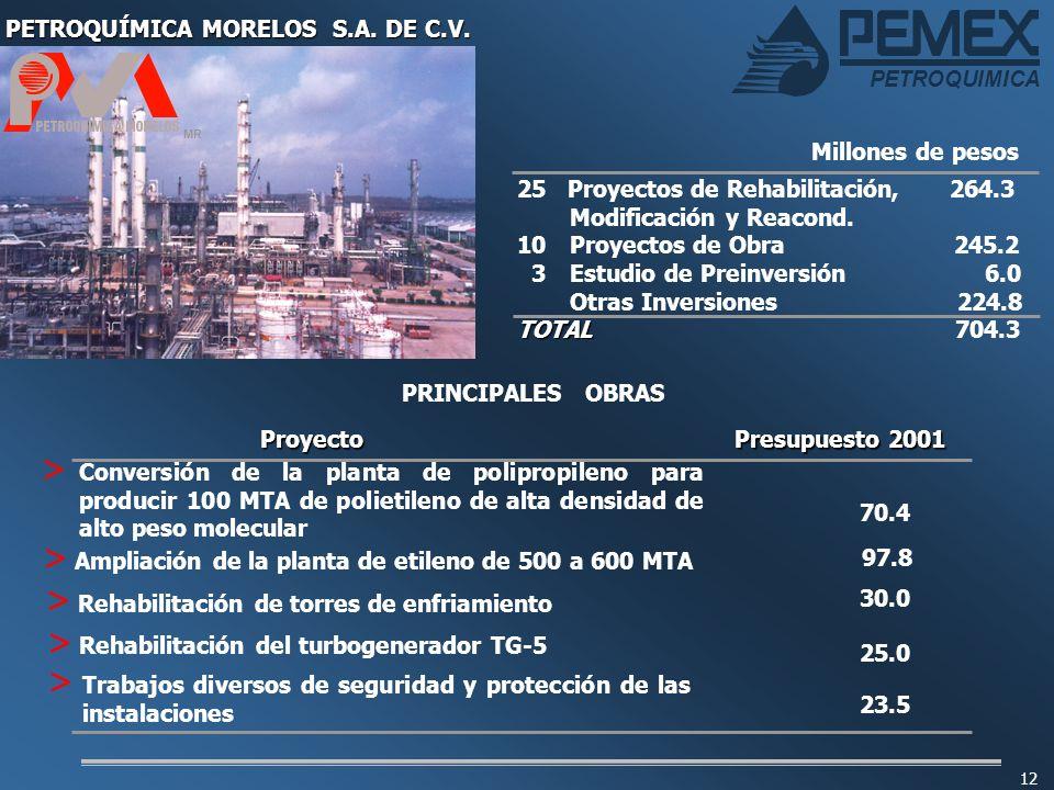 12 PETROQUÍMICA MORELOS S.A. DE C.V. MR 25 Proyectos de Rehabilitación, 264.3 Modificación y Reacond. 10 Proyectos de Obra 245.2 3Estudio de Preinvers